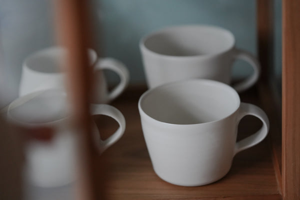Katsufumi Baba - Matte White Porcelain Coffee Mugs