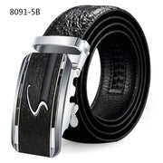 Men's crocodile leather belt embossed leather automatic buckle