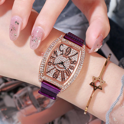 Gypsophila rhinestone magnetic mesh belt ladies watch