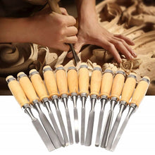 Load image into Gallery viewer, 12 Piece Wood Carving Hand Chisel Tool Set