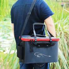 Load image into Gallery viewer, Foldable Waterproof Fishing Bucket - Live Fish Container