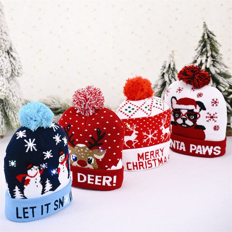 LED Christmas Colorful Luminous Knitted Hat