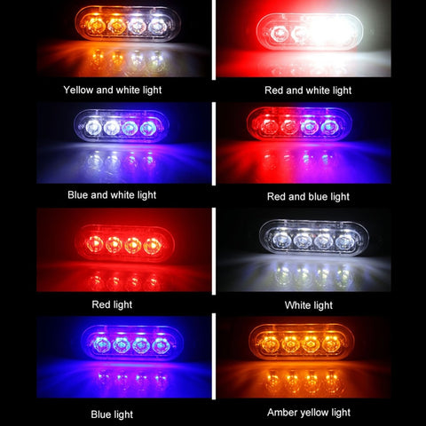 New 4 Led Strobe Warning Light Flashing Lightbar