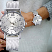 Ladies Silver Heart Dial Silicone Mesh Belt Wrist Watch