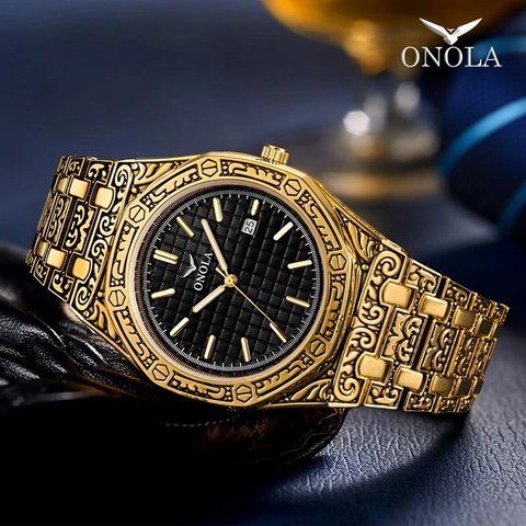Golden antique design men's watch