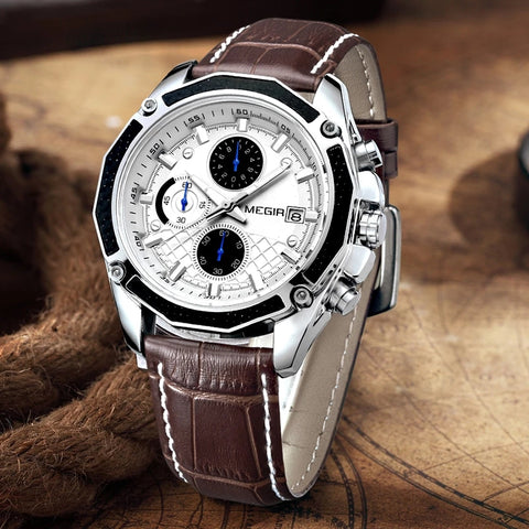 Men's Fashion Leather Chronograph