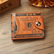 Dollar pattern men's leather wallet