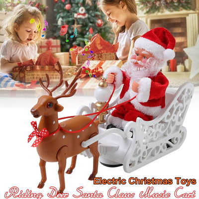 Electric Deer Cart Santa