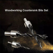 Woodworking drill chamfering tool set