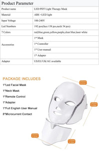 iAgeless Beauty Light Skin Rejuvenation Phototherapy Mask (Face & Neck) - PuriFresh