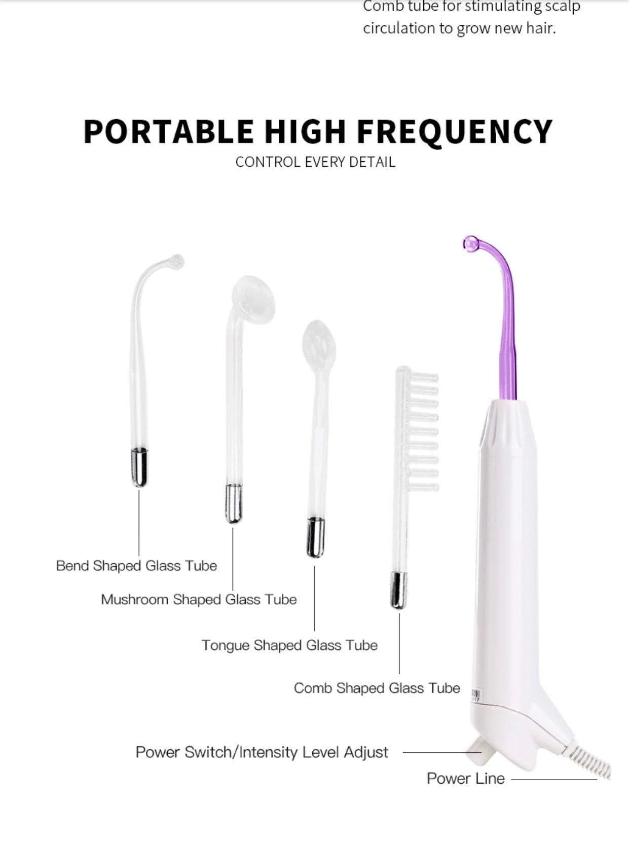 iAgeless Portable D'arsonval High Frequency Microcurrent Facial Device (AU Stock)