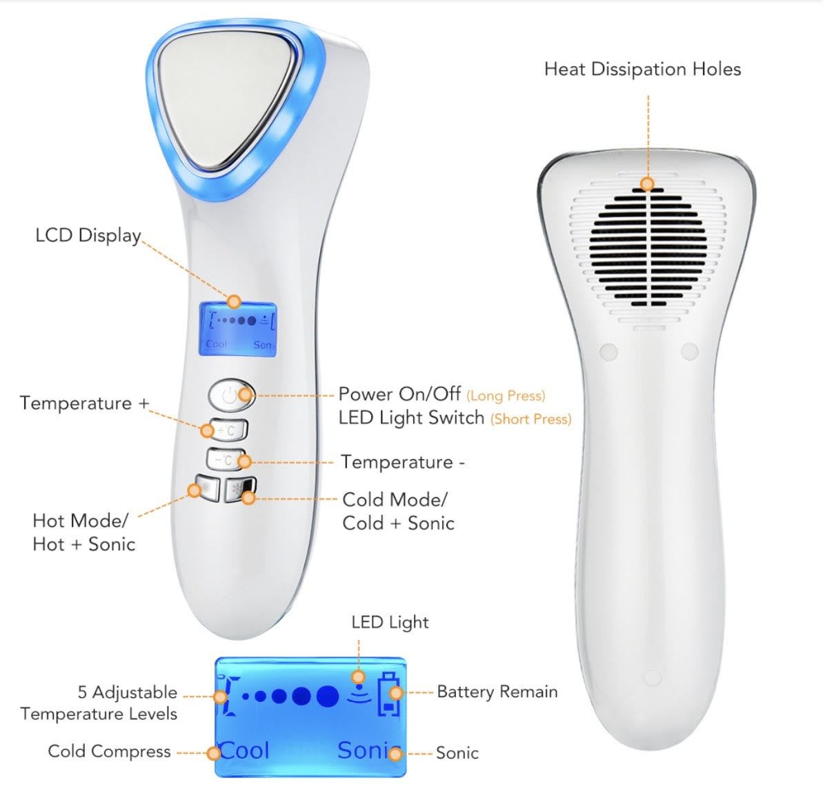 iAgeless Multi-Function Hot Cold LED Microcurrent Skin Rejuvenation Device (AU Stock) - PuriFresh
