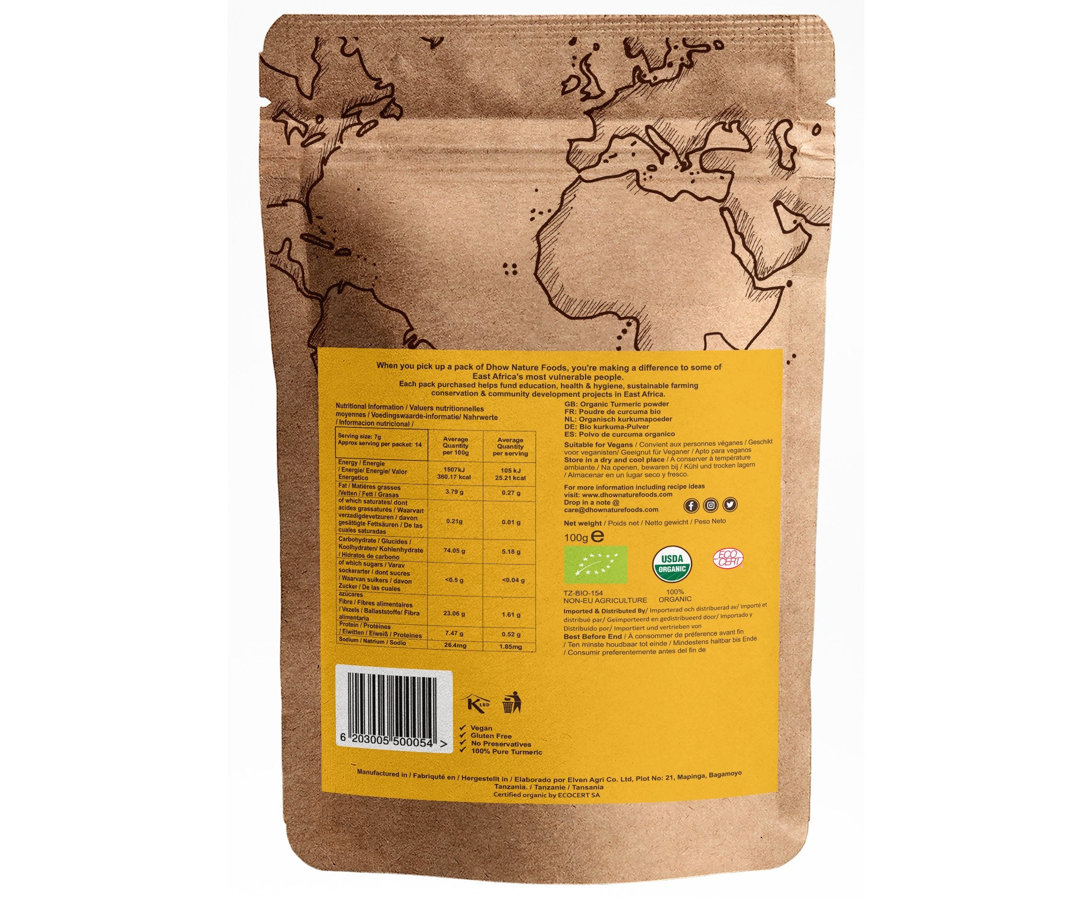 Organic Raw High Curcumin Turmeric Powder (100g) - Dhow Nature Foods (Australia)
