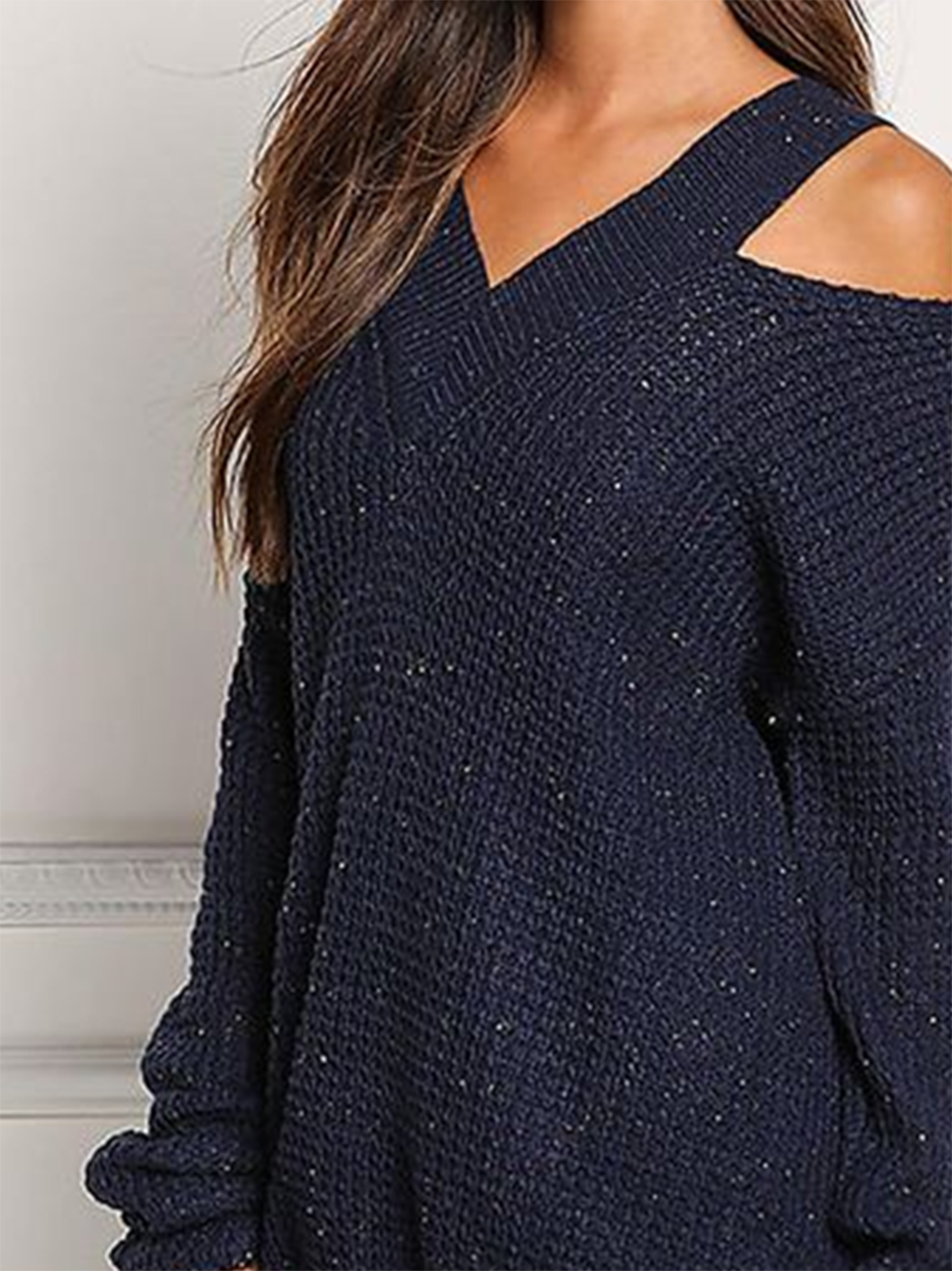 V-Neck Strapless Solid Color Sweater