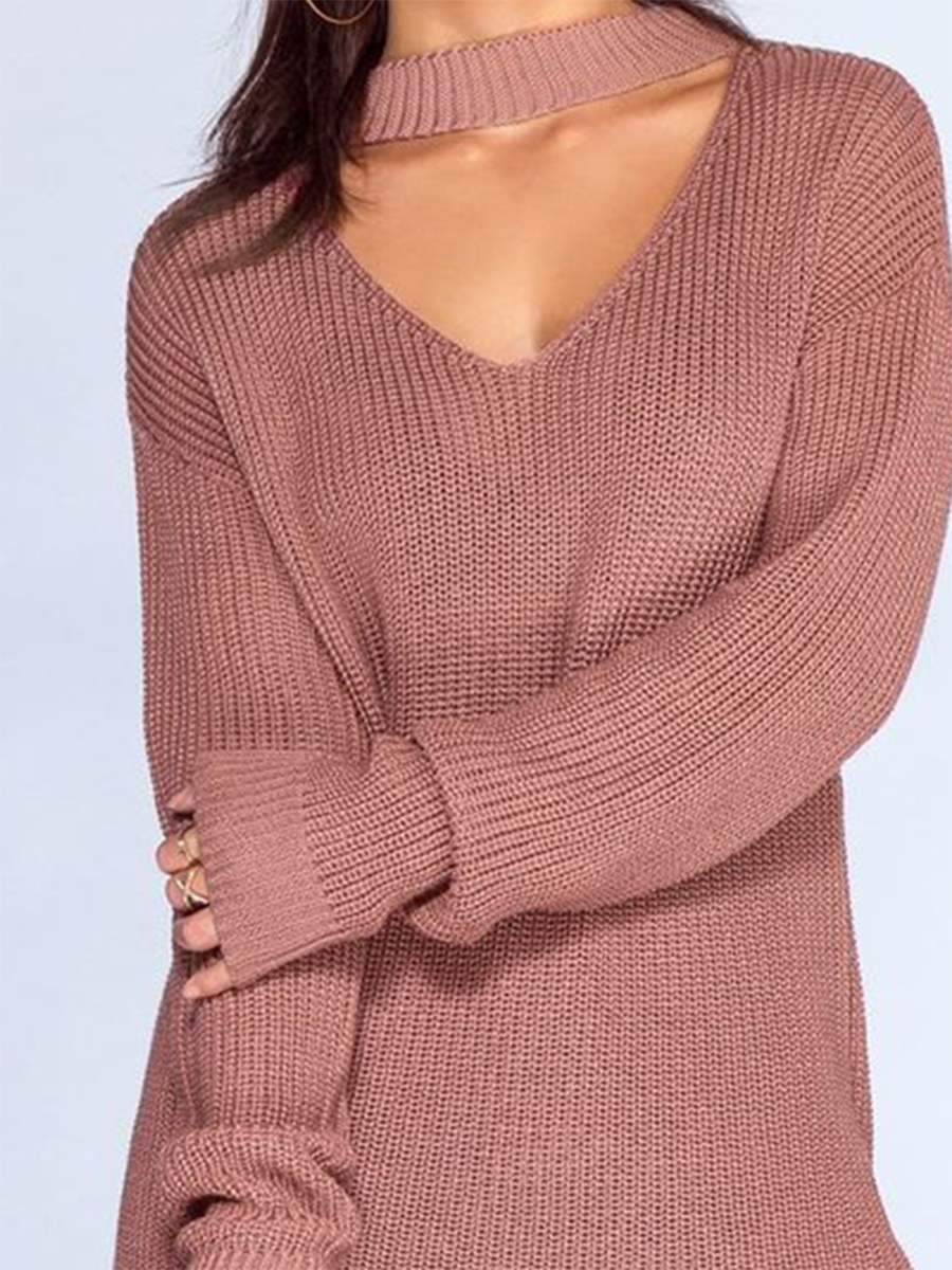 V-Neck Solid Color Sweater
