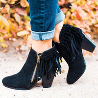 Women Outdoor Fringe Suede Chunky Heel Ankle Boots