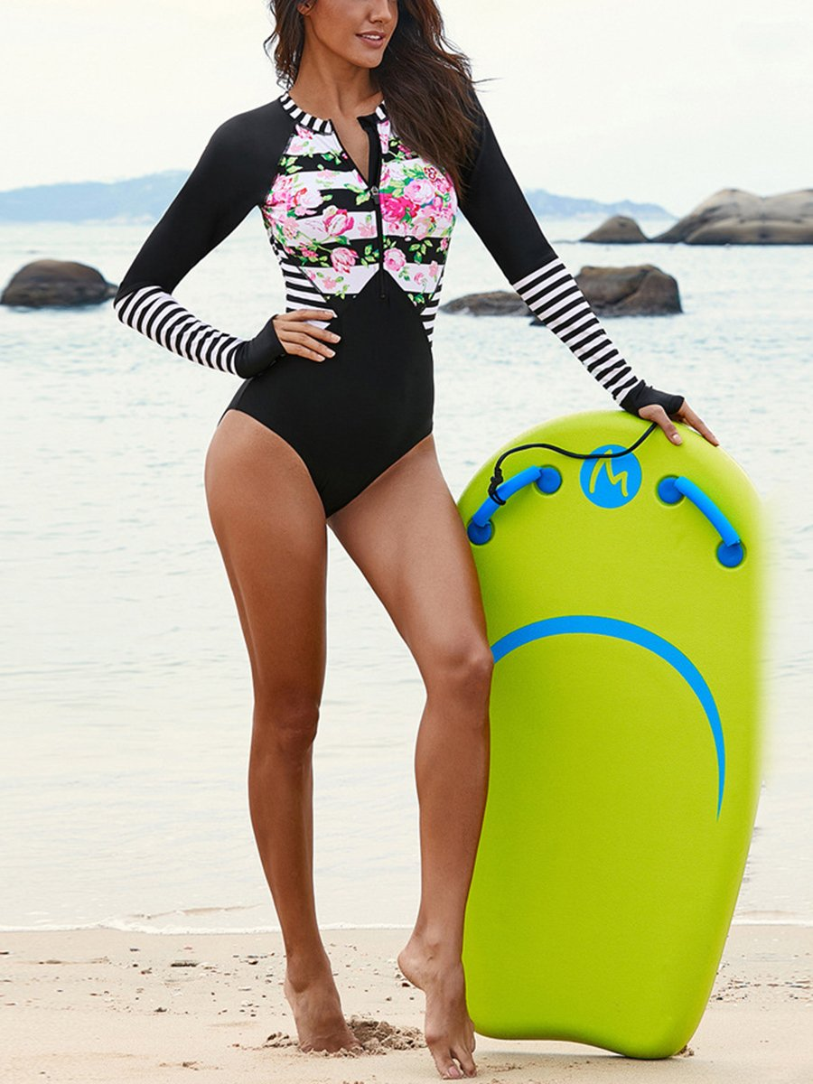 Printed Snorkeling Suit Triangle One-Piece Swimsuit