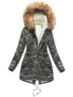 Hooded Camouflage And Velvet Warm  Coat