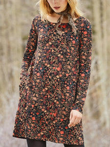 Vintage Printed Long Sleeve Pocket Dress