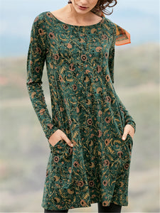 Casual Loose Pocket Print Long Sleeve Dress