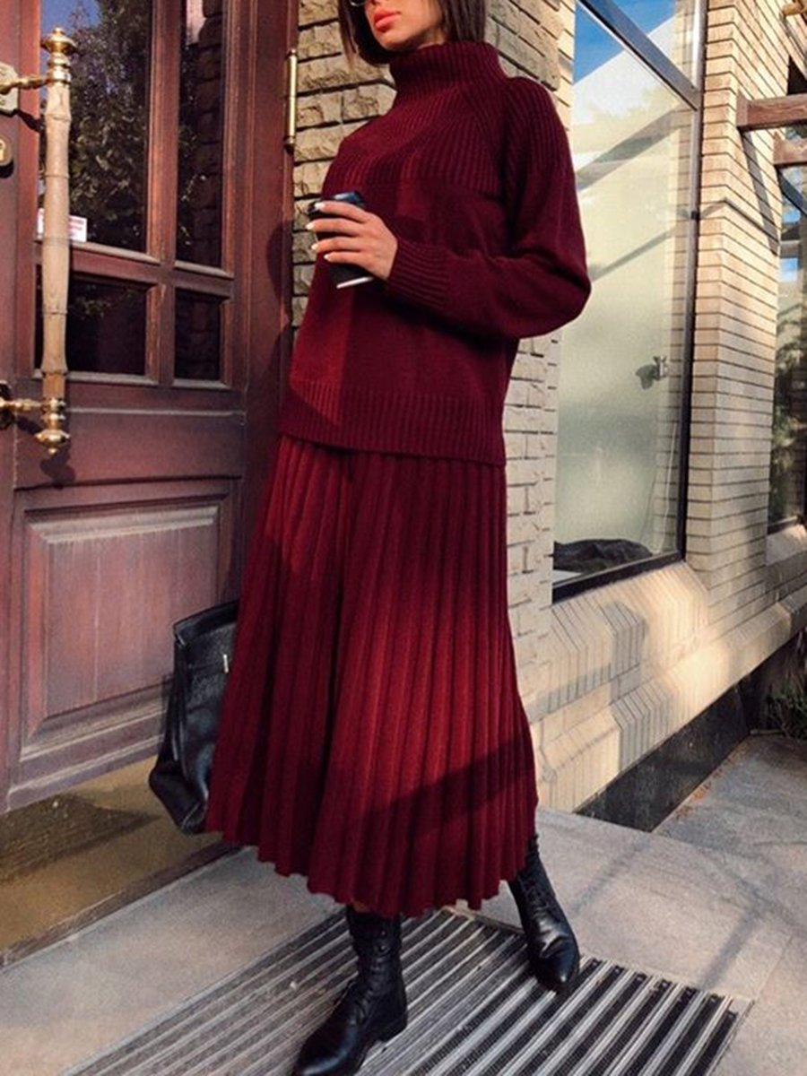 Casual Pleated Skirt Solid Color Set