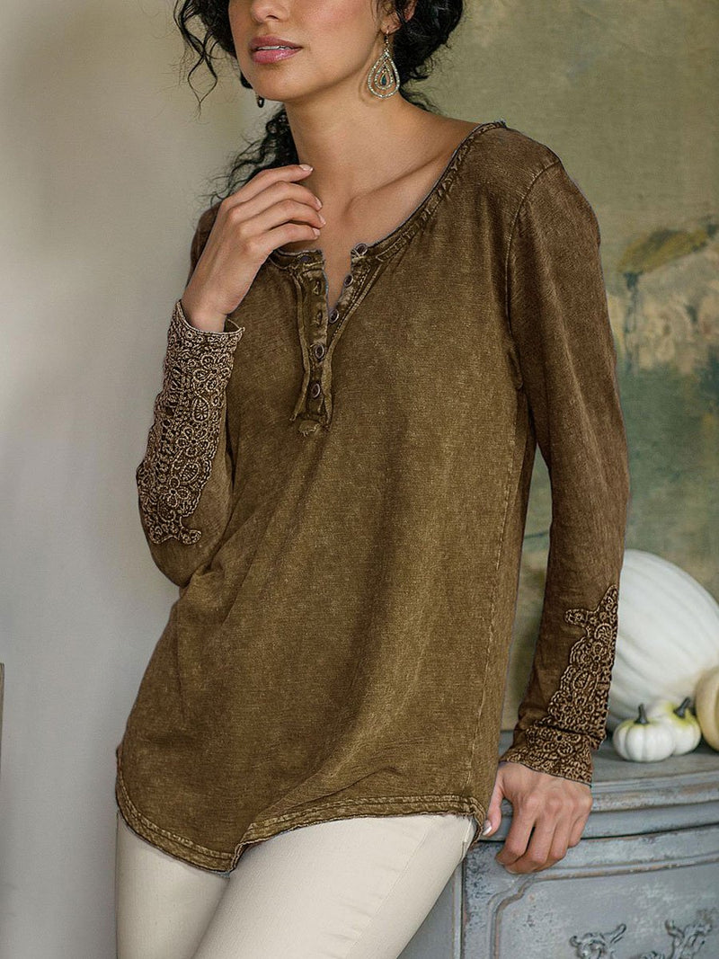 Loose Casual Plain Lace Long Sleeve Button  T-Shirt Top