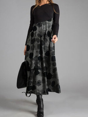 Grey Elegant Wave Casual Dot Print With Long Sleeve Dress