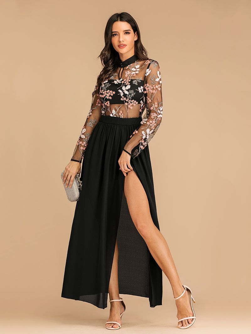 Embroidered Lace Small Stand Collar Side Slit Long Sleeve Evening Dress