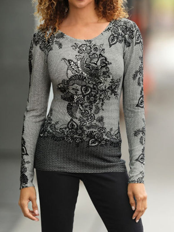 Lace Printed Long Sleeve Sweater
