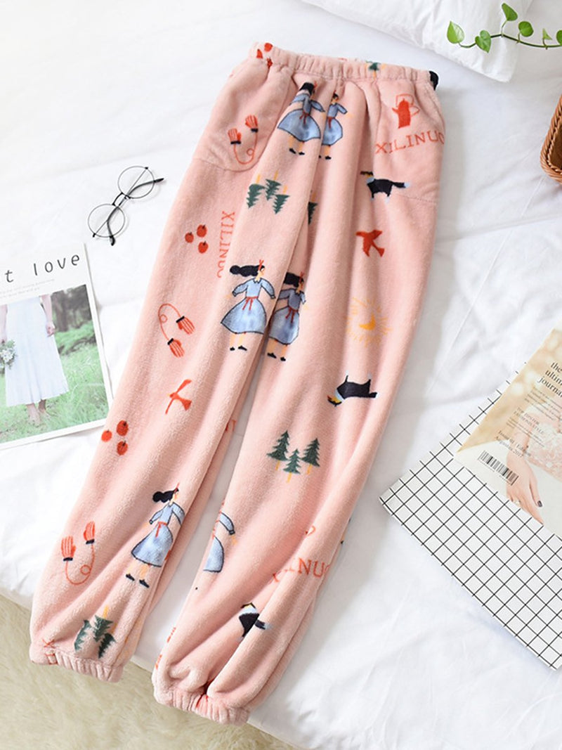 Printed Warm Pants Thick Coral Fleece Trousers