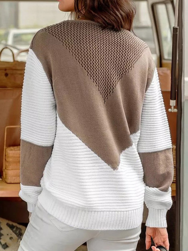 Round Neck Panel Loose Casual Sweater