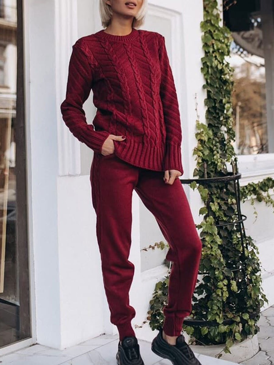 Loose Casual Long Sleeve Pullover Pocket Pants Knit Set