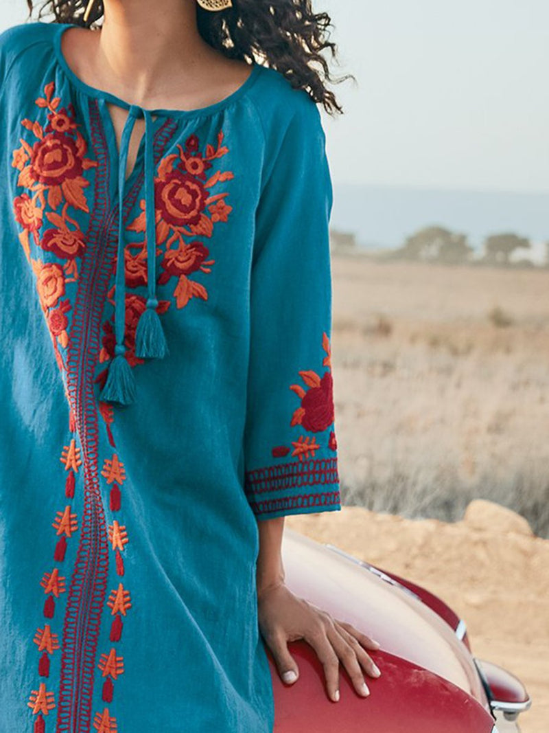 Exquisite Artisan Embroidery Graces Midi Dress