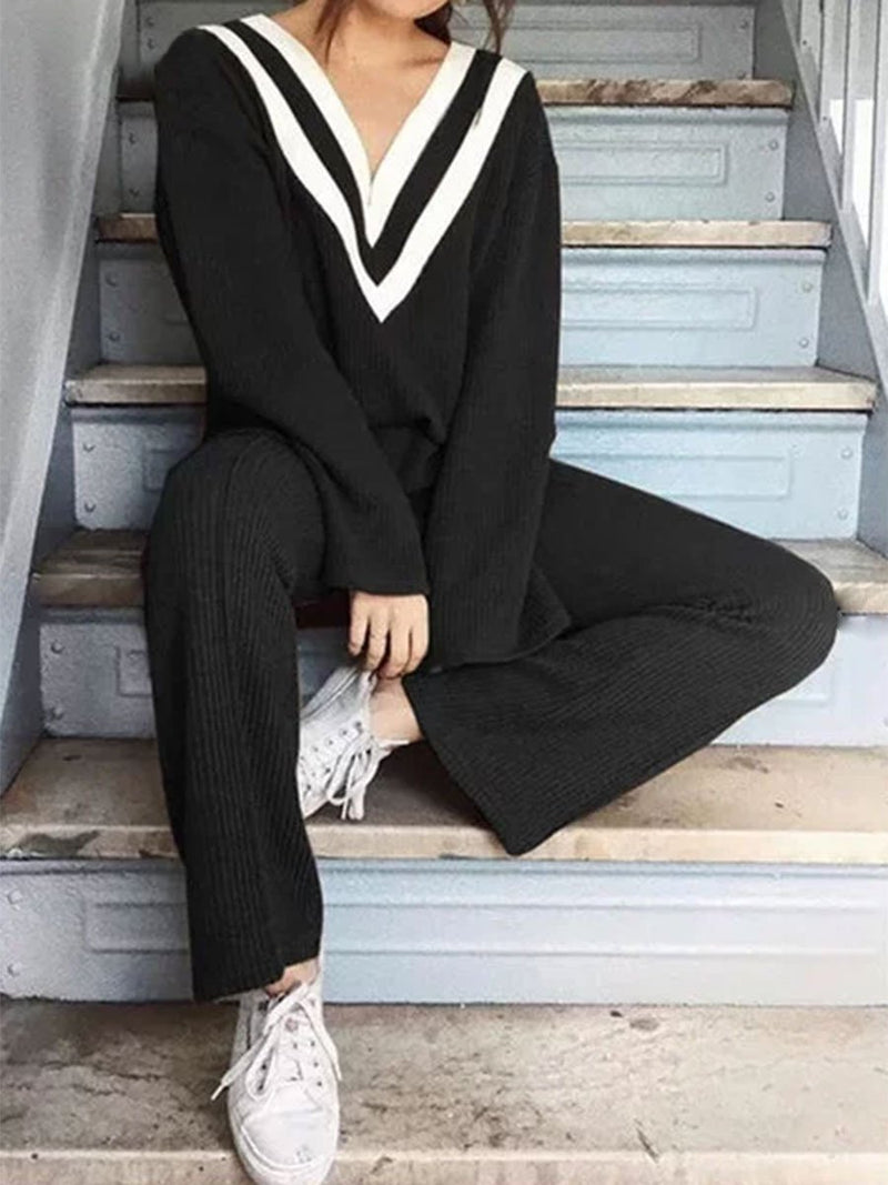 Striped Knitted Two Pieces Pants Sets Suits