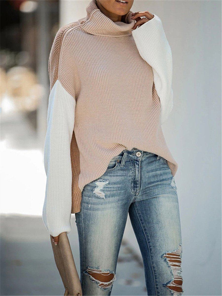 Best Selling High Collar Splicing Trumpet Sleeve Sweaters