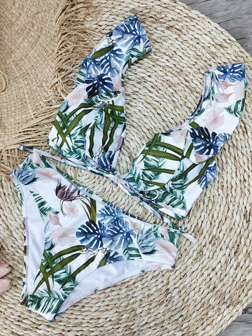 Printed Ruffled Lace Bikini