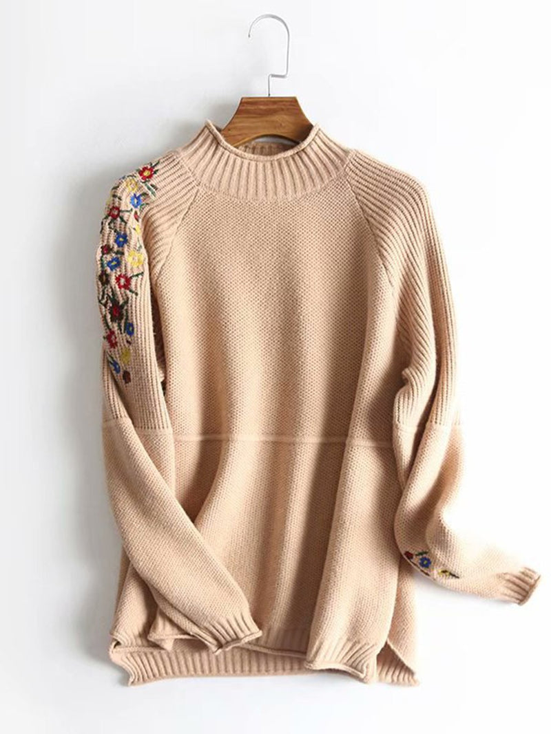 Fashionable Shoulder Sleeve Embroidered Floret Sweater