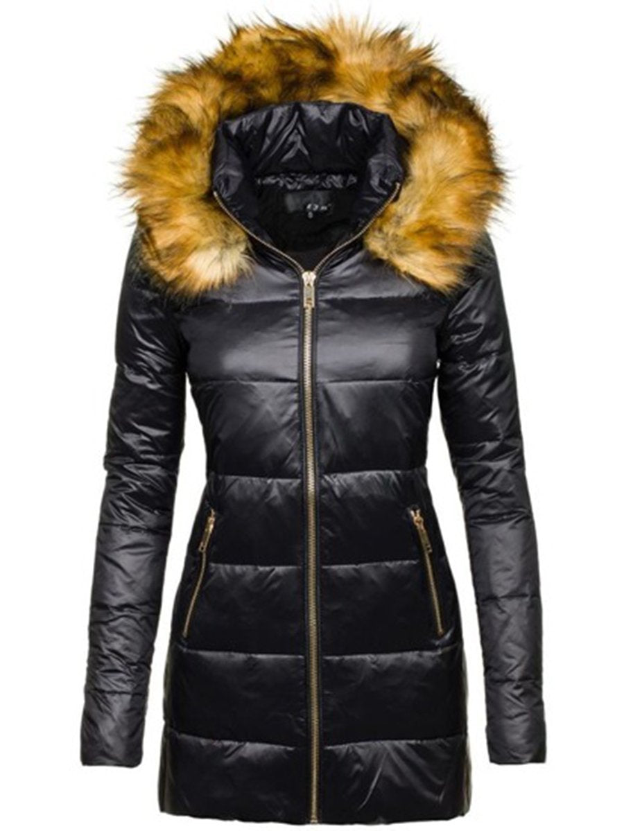 Hooded Solid Color Warm Padded Down Coat