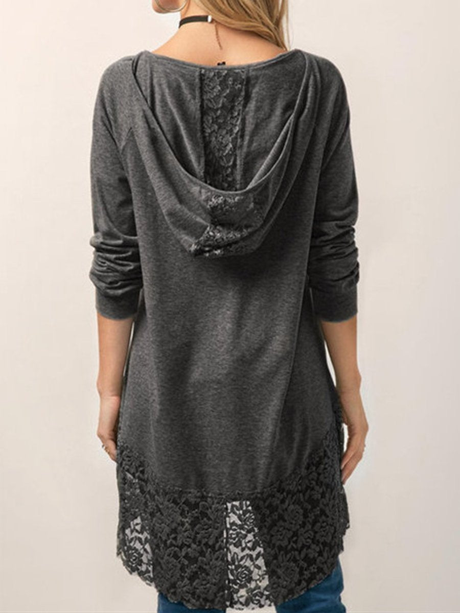 Hooded Lace Long-sleeved Shirt