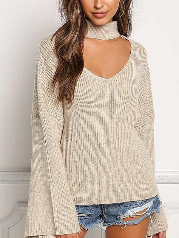 Cream Turtleneck Cut Out Thick Knit Sweater Top