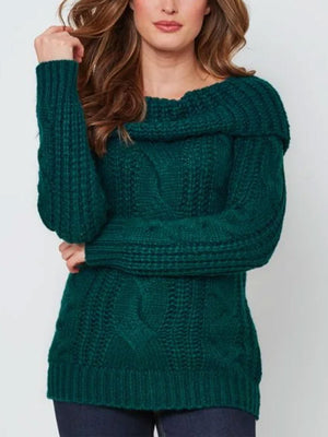 Fashion Green Casual Turtleneck Tops