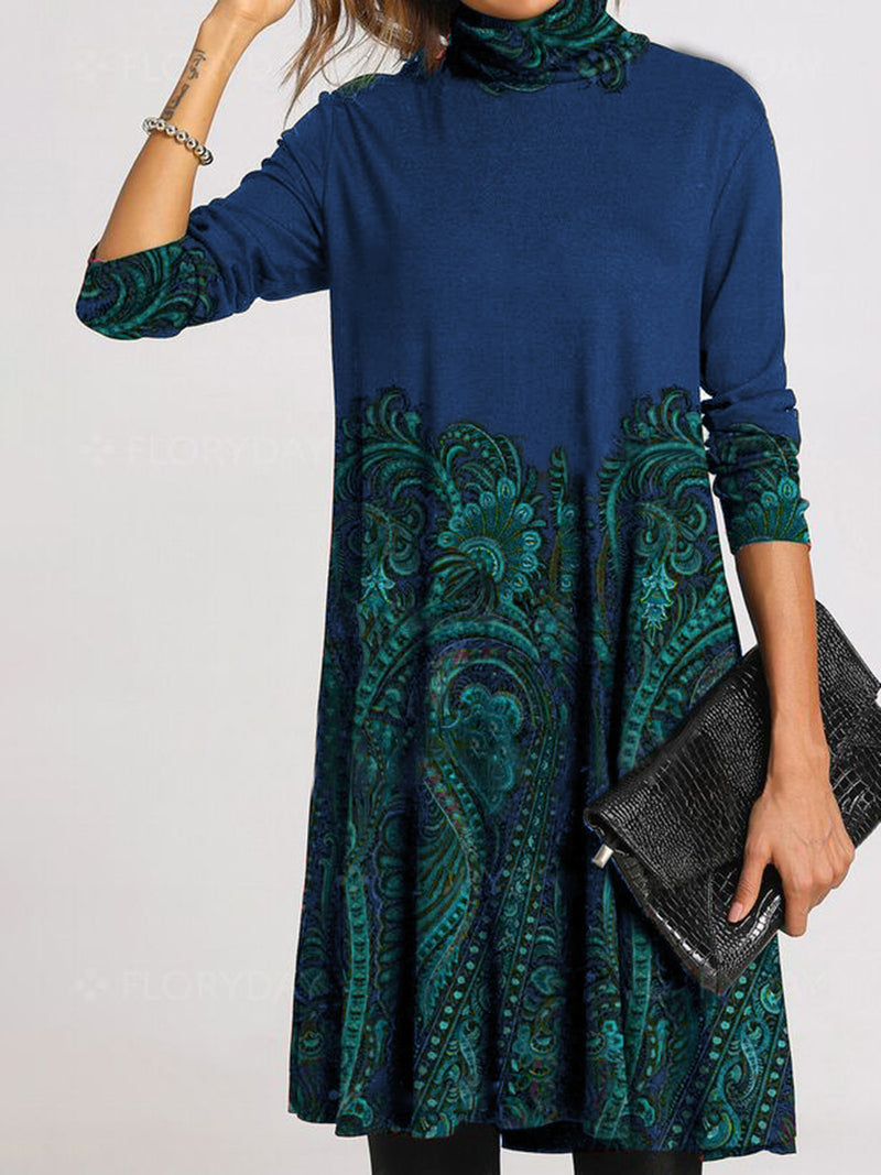 Long-sleeved print high-collar dress