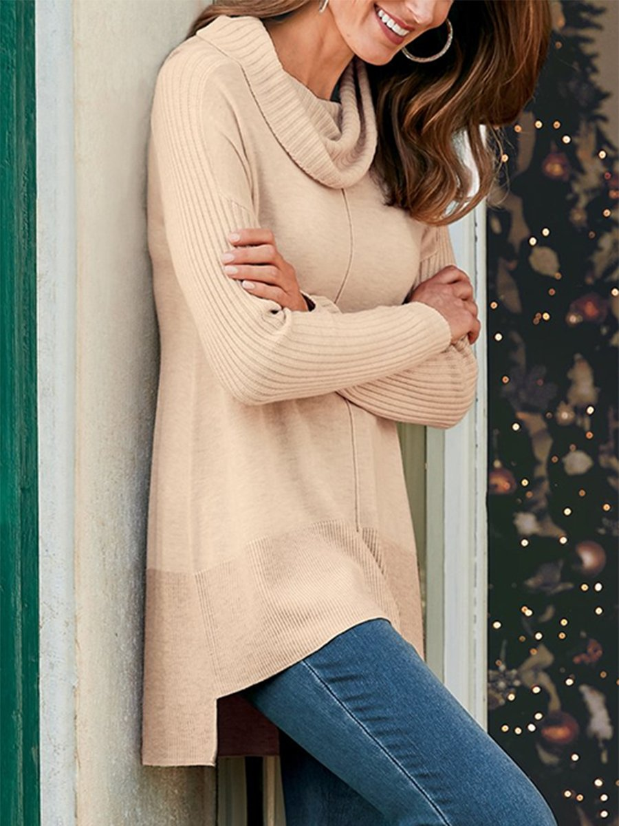High Neck Knit Pullover Versatile Sweater