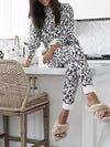 Multicolor Leopard Crew Neck Long Sleeve Pants Women'S Suit