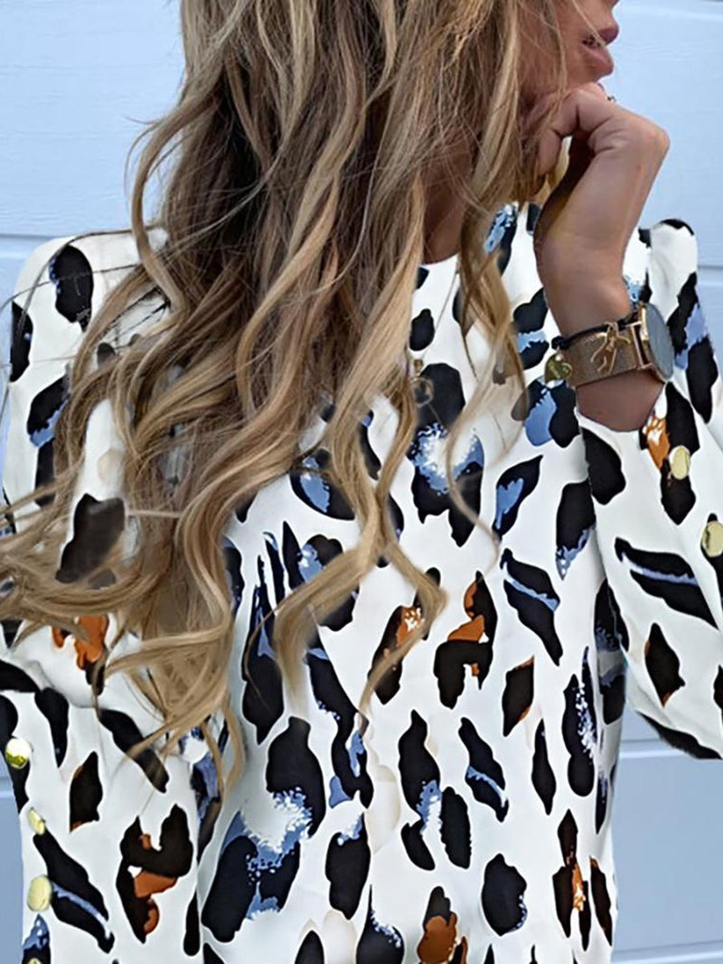 Long Sleeve Button Leopard Print Shirt Ladies Lining T-shirt