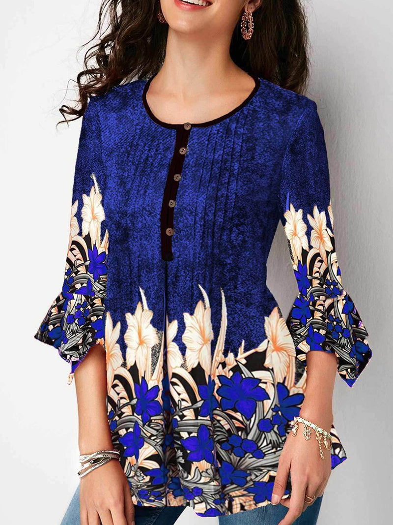 Cropped V-neck Printed Ruffle Sleeves T-shirts