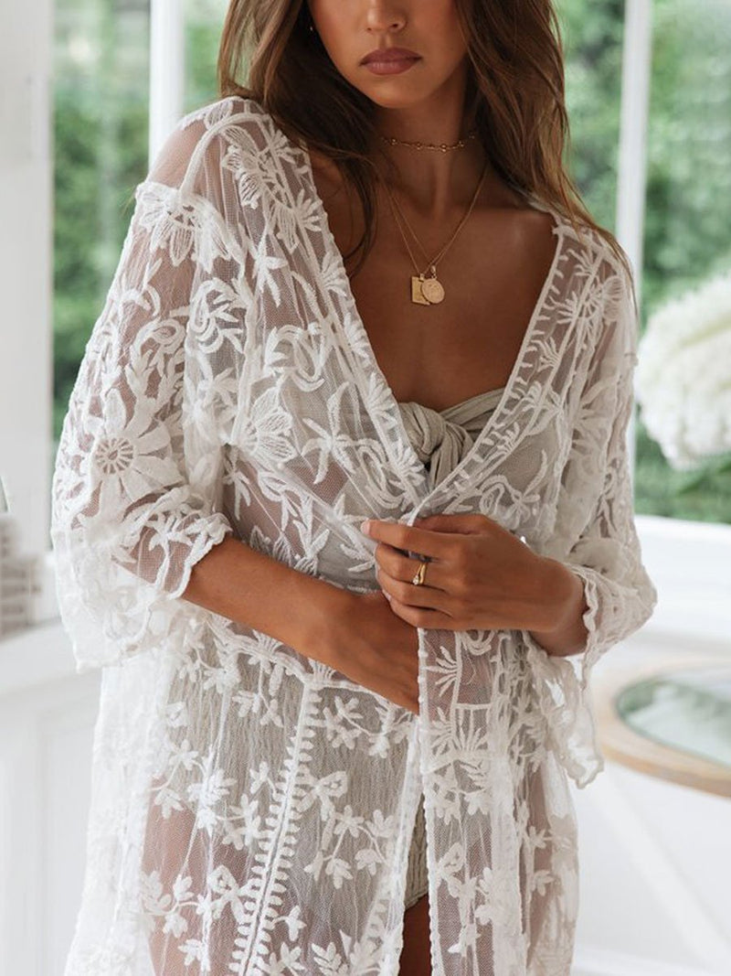 Hollow Mesh Long Sleeve Beach Cardigan