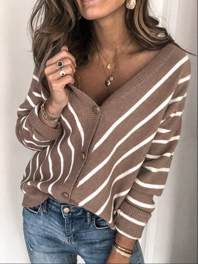 V-neck Single-breasted Striped Sweater