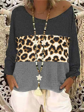 Casual Round Neck Leopard Stitching Long Sleeve T-shirt