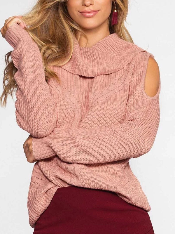 High Collar Strapless Solid Color Sweater